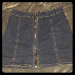 High waisted jean miniskirt